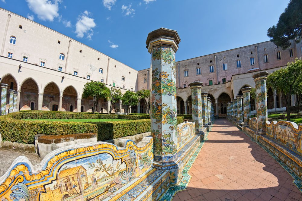Cloister of Santa Chiara in Naples , Italy